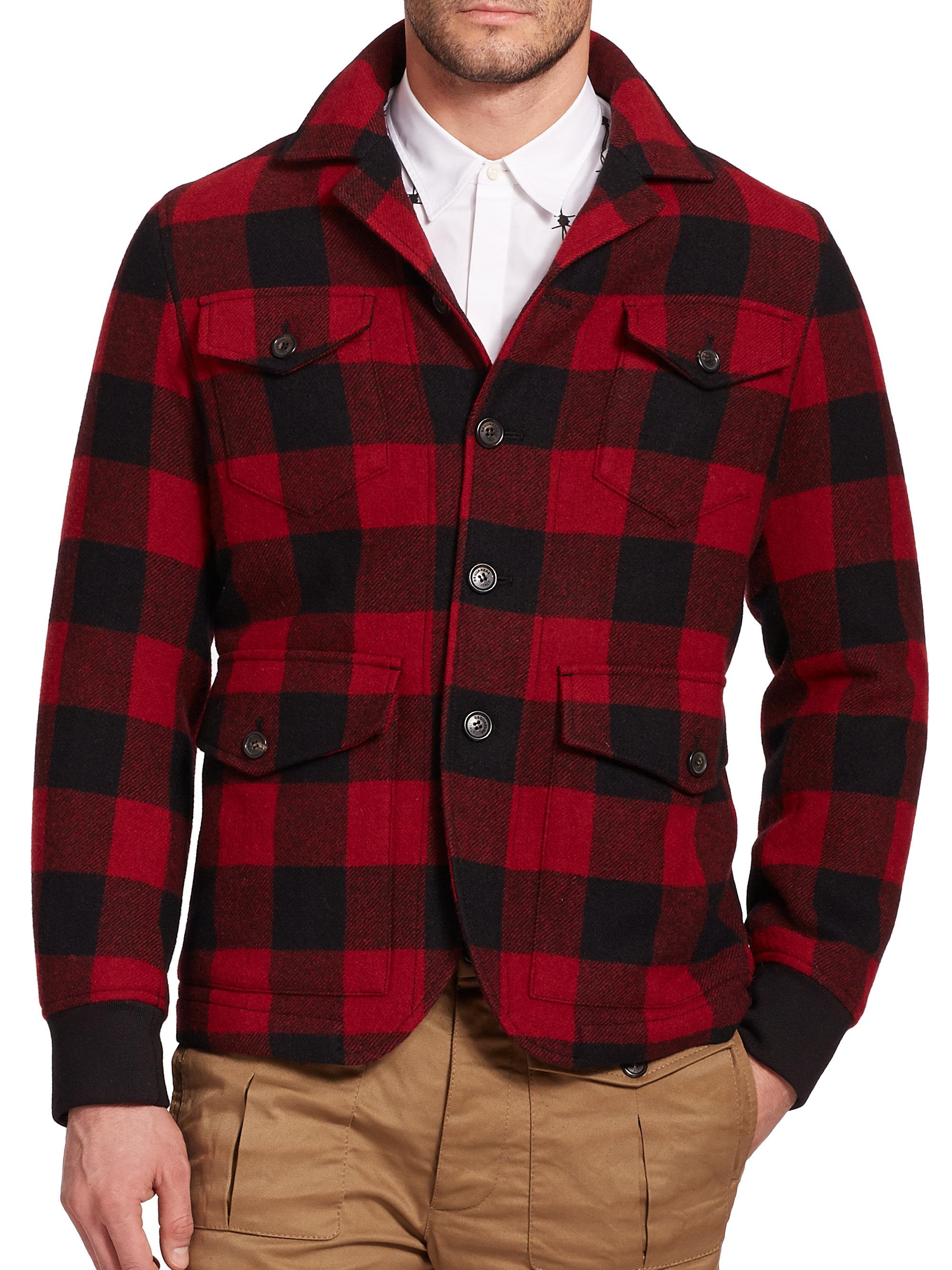 443090f82 DSquared² Black Buffalo Plaid Wool Jacket for men