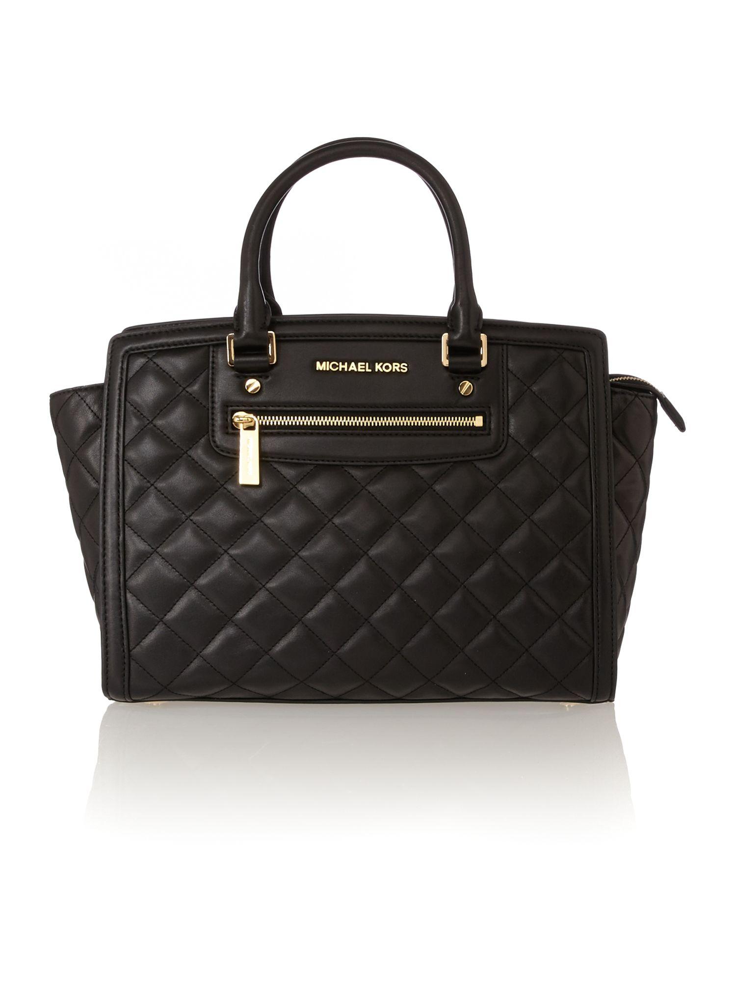 michael kors selma zip quilt black large tote bag in black lyst. Black Bedroom Furniture Sets. Home Design Ideas