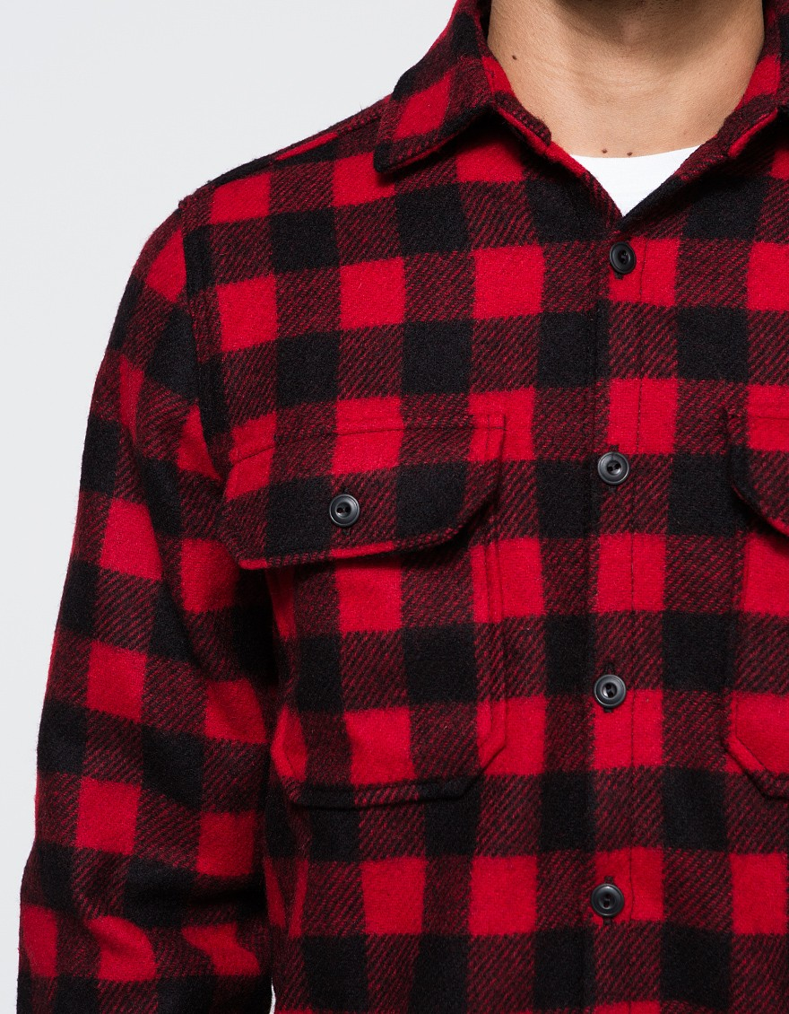 woolrich mill wool buffalo check shirt in red for men lyst