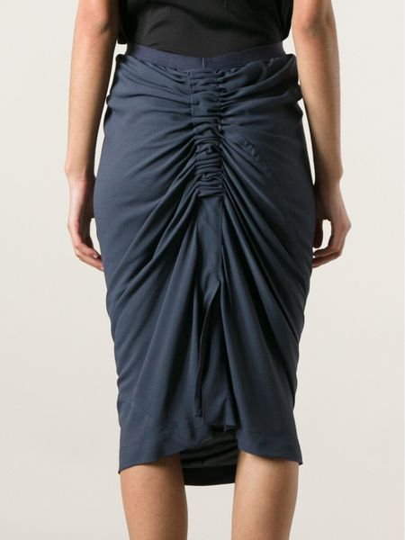 rick owens draped pencil skirt in blue lyst