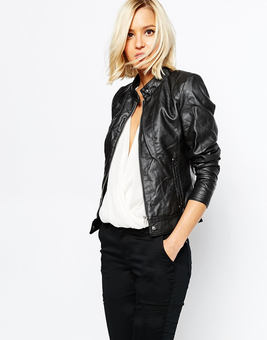 90d7d2dbb Vero Moda Black Leather Look Biker Jacket