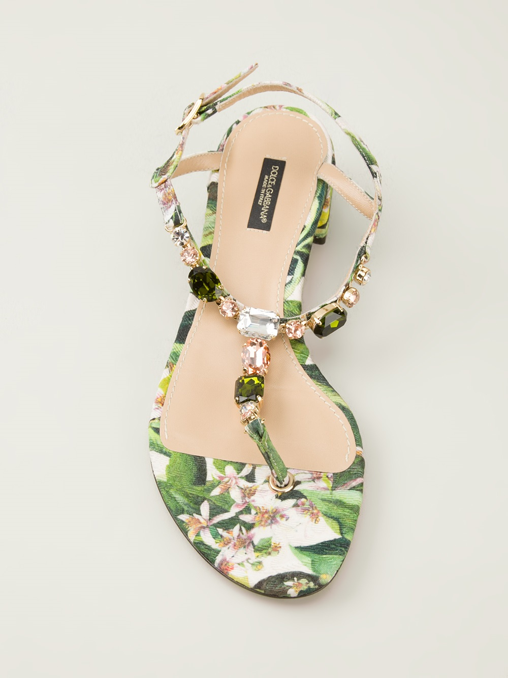 Dolce Amp Gabbana Floral Print Sandals In Green Lyst
