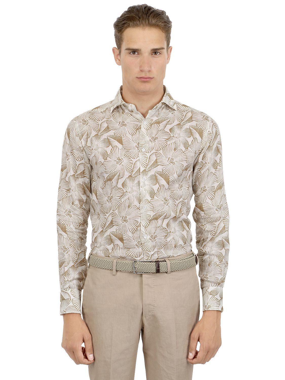 Lyst Larusmiani Slim Fit Floral Printed Linen Shirt For Men