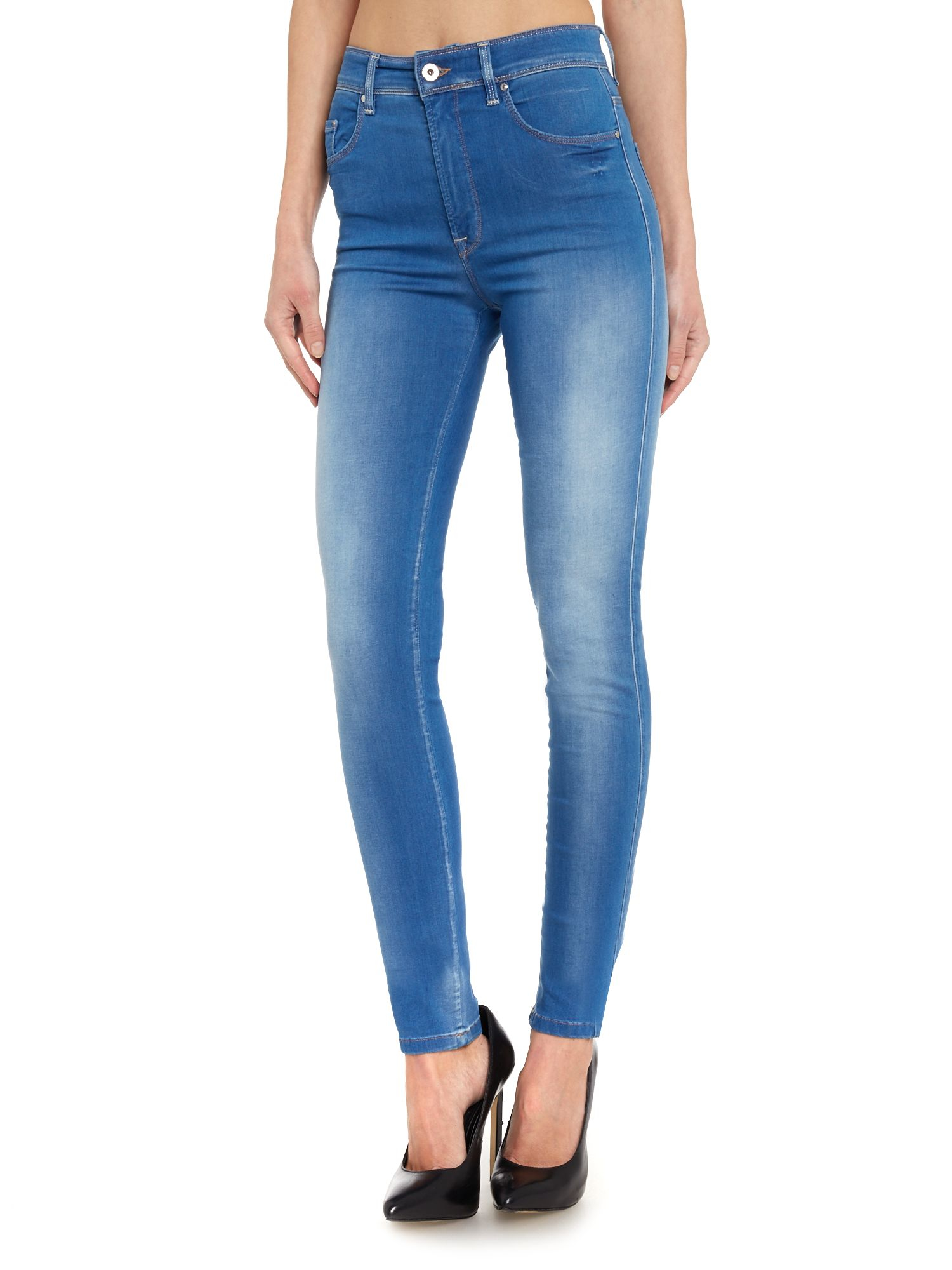 salsa high waisted carrie skinny jeans in blue lyst. Black Bedroom Furniture Sets. Home Design Ideas