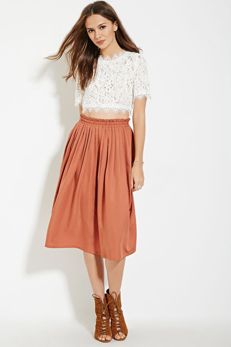 e8a988b17 Forever 21 Contemporary Pleated A-line Skirt in Orange - Lyst