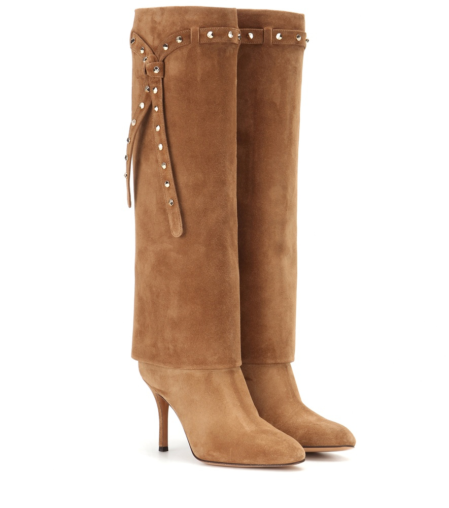 valentino embellished suede knee high boots in brown