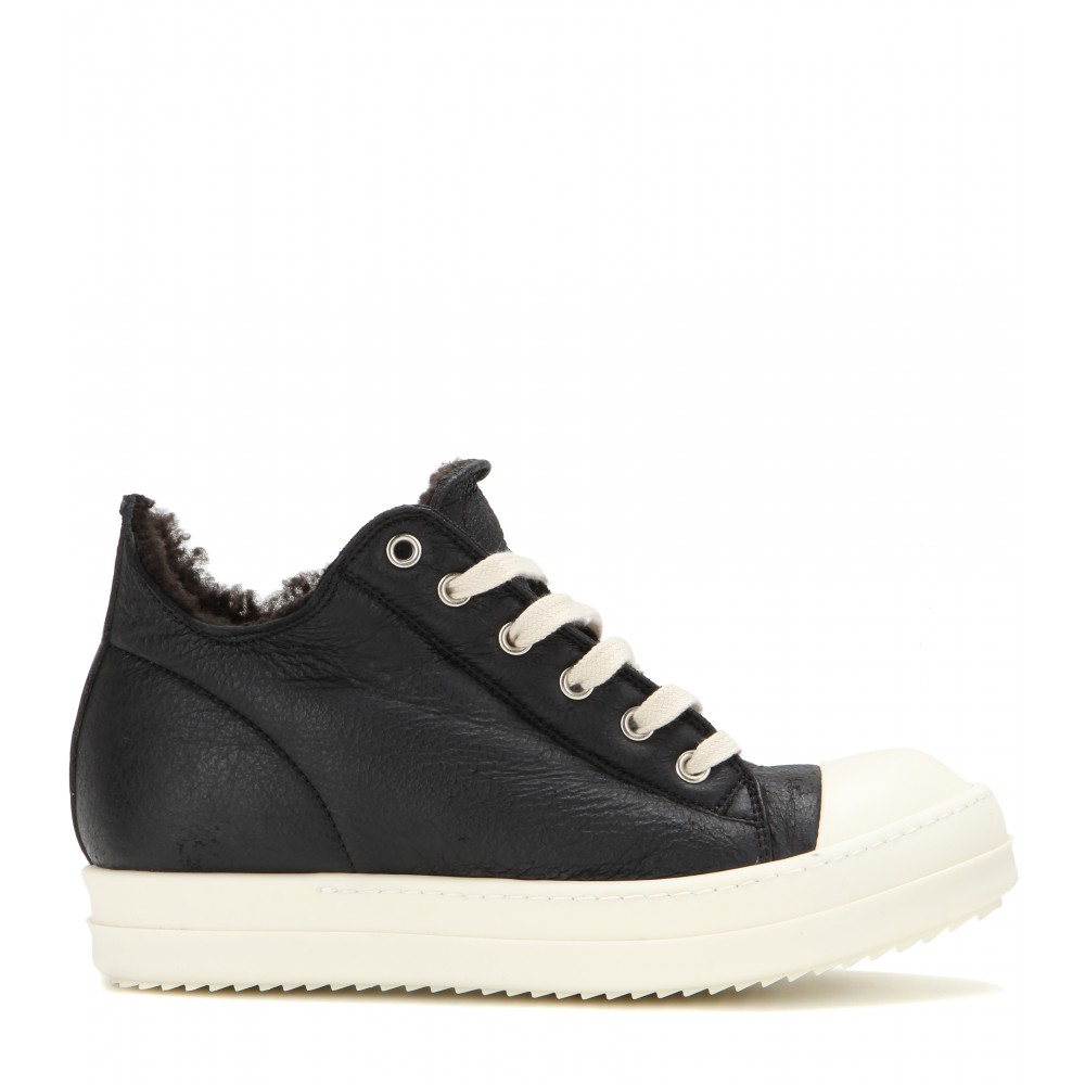 Lyst Rick Owens Leather And Shearling Sneakers In Black