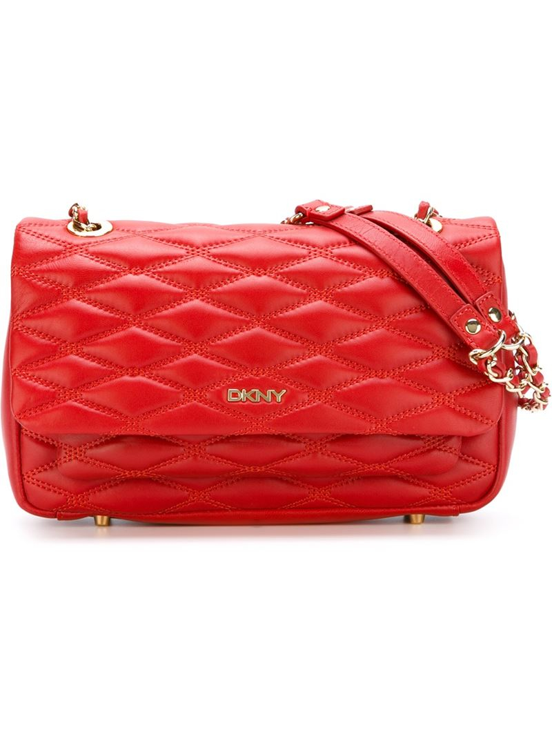 Dkny Quilted Shoulder Bag in Red | Lyst