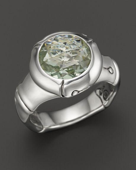 John Hardy Batu Bamboo Silver Small Round Ring With Green