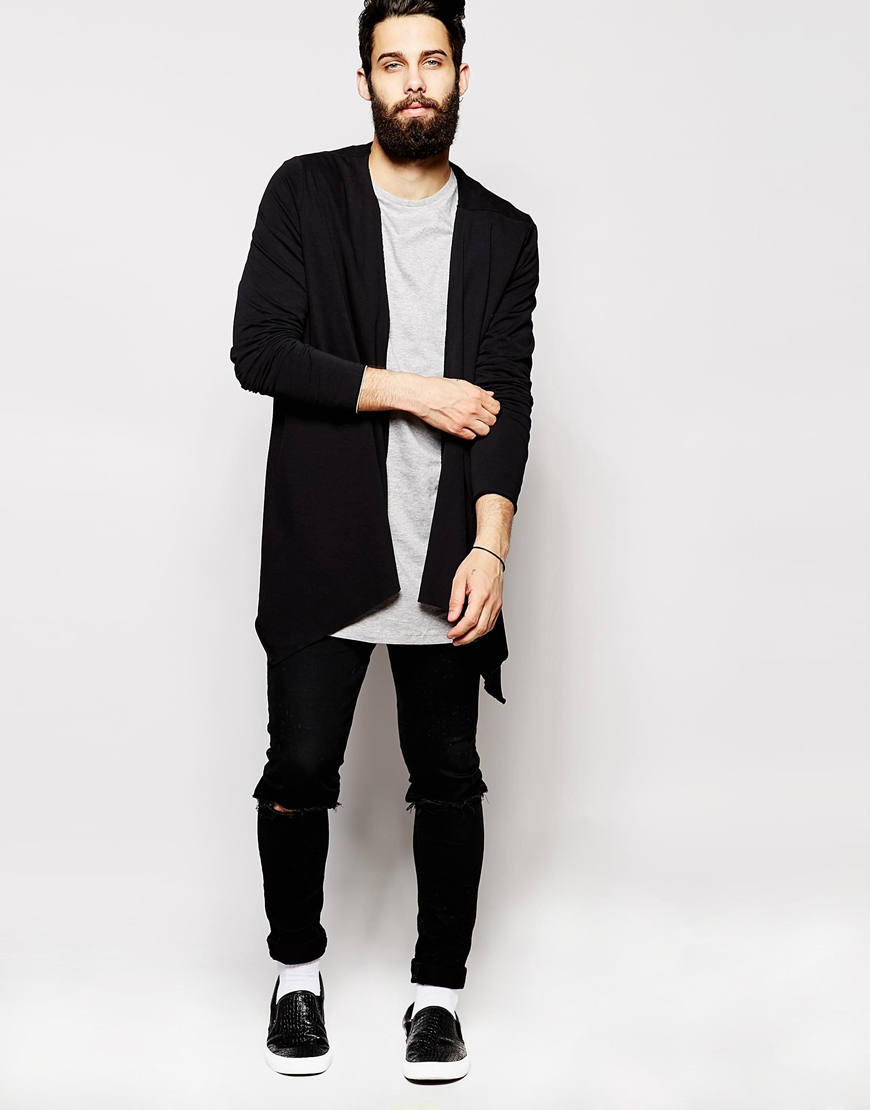 Asos Longline Cardigan With Extreme Waterfall In Jersey in Black ...
