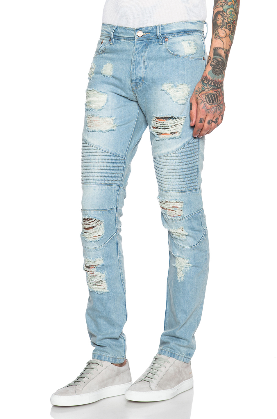 Lyst - Stampd Distressed Moto Jeans in Blue