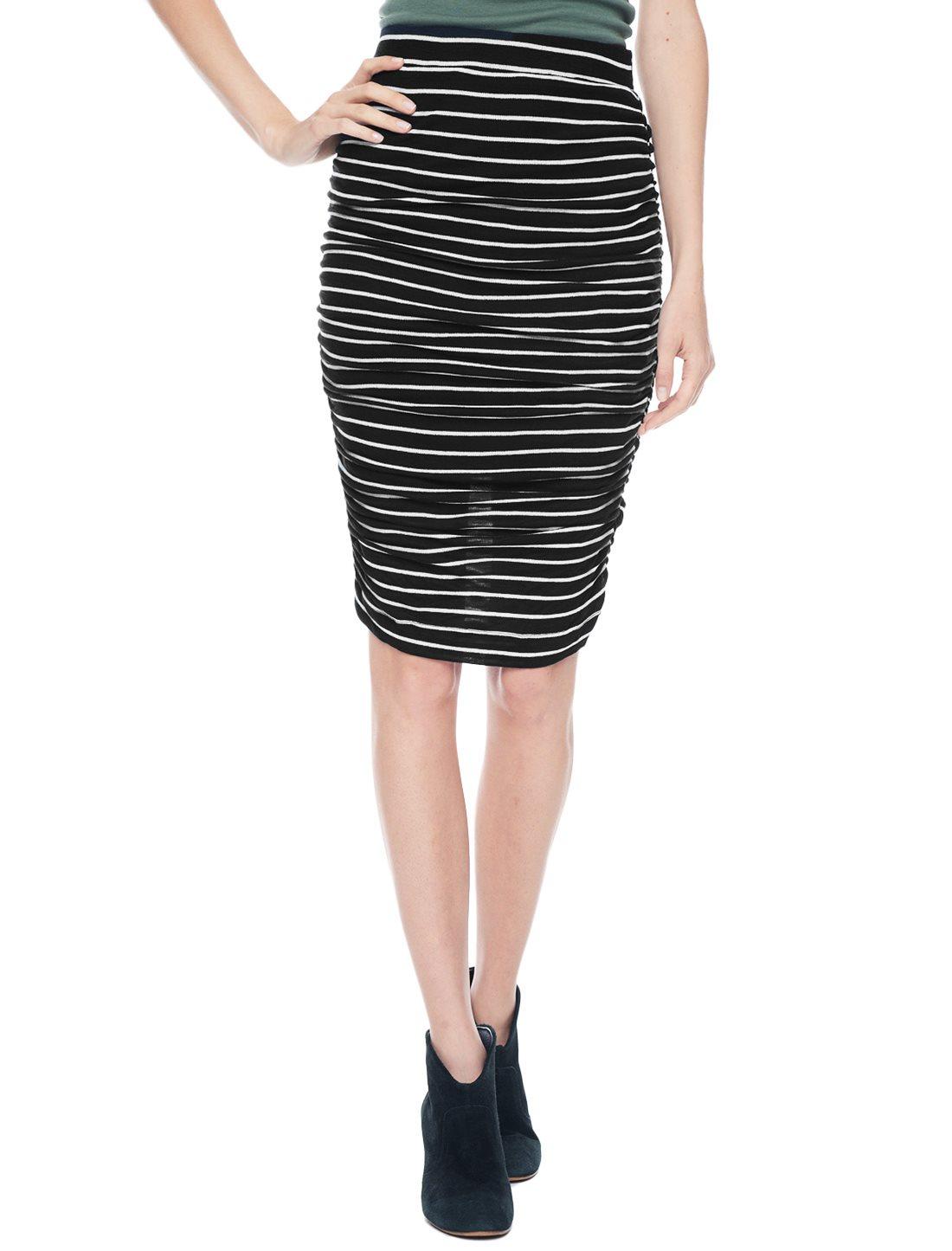 splendid new stripe midi skirt in black lyst