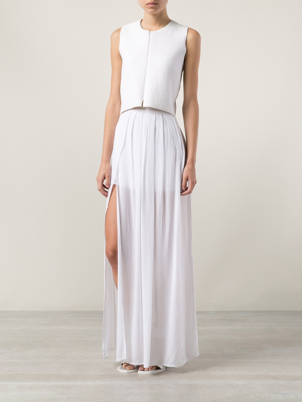 Bella luxx Pleated Maxi Skirt in White | Lyst