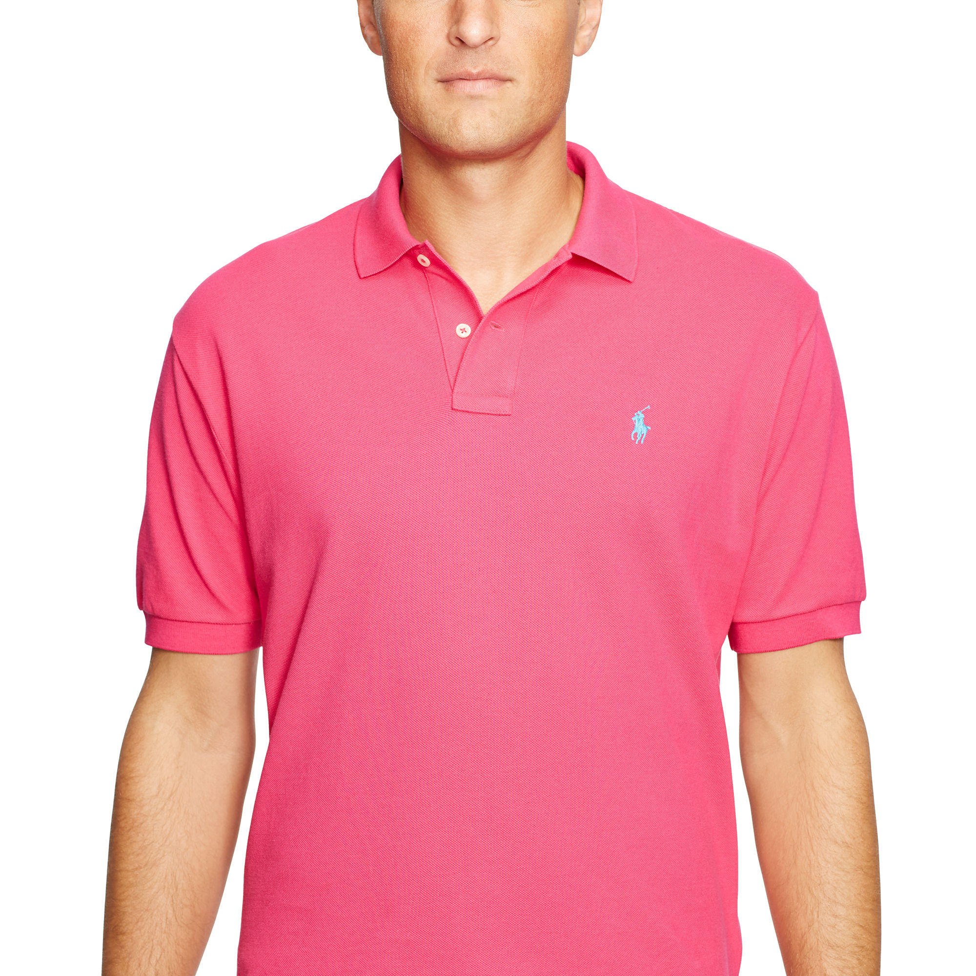 polo ralph lauren custom fit mesh polo in pink for men lyst. Black Bedroom Furniture Sets. Home Design Ideas