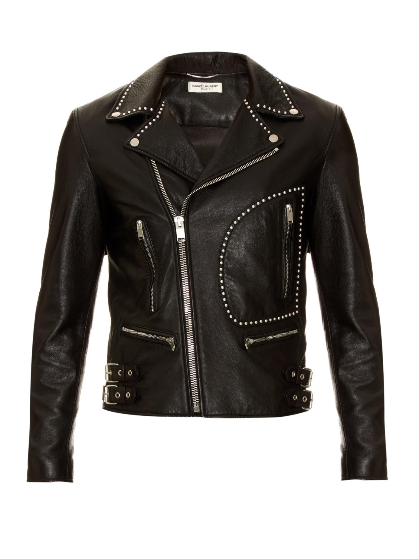 Lyst Saint Laurent Studded Leather Biker Jacket In Black