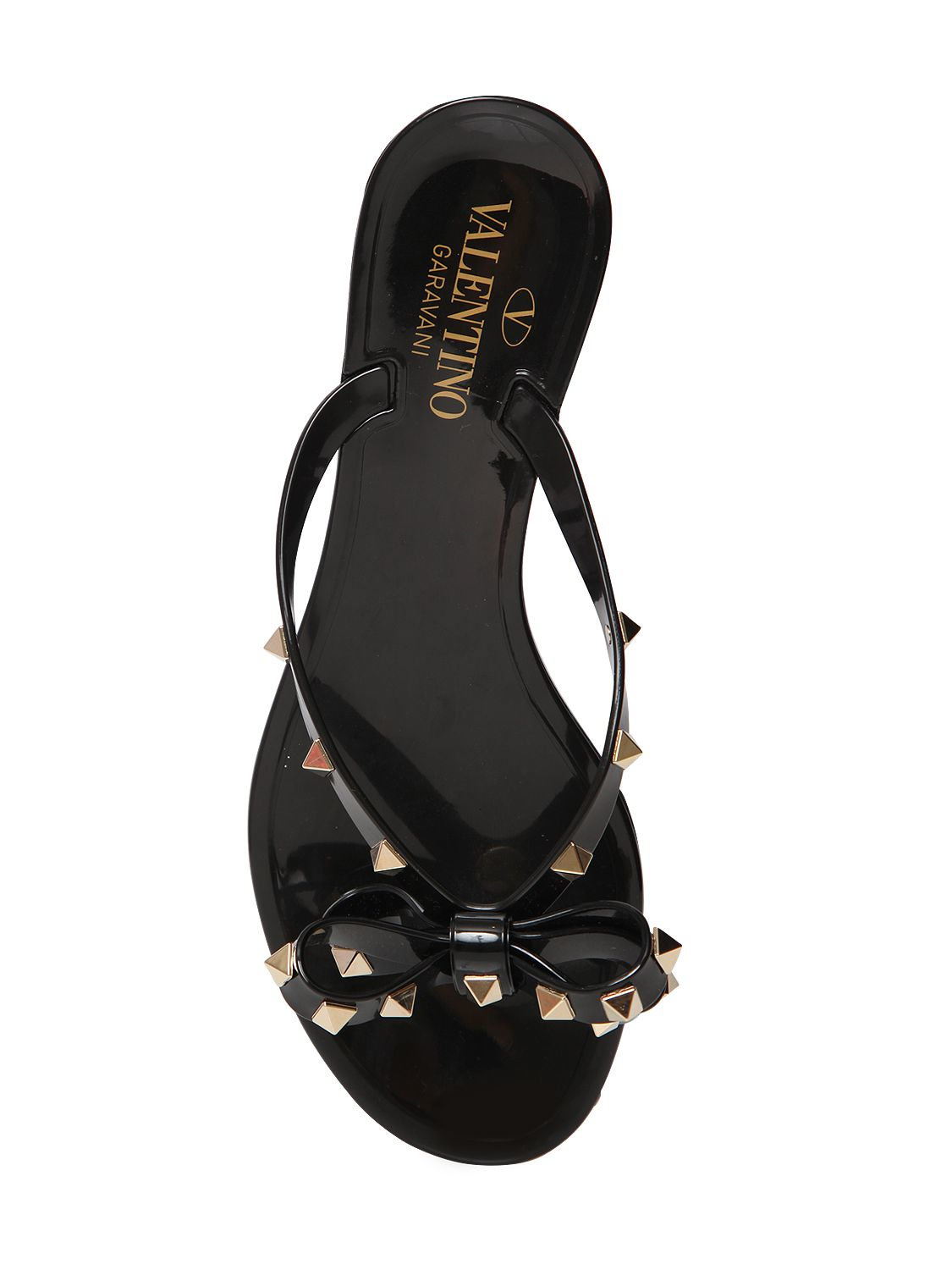 valentino rockstud pvc flip flops in black lyst. Black Bedroom Furniture Sets. Home Design Ideas