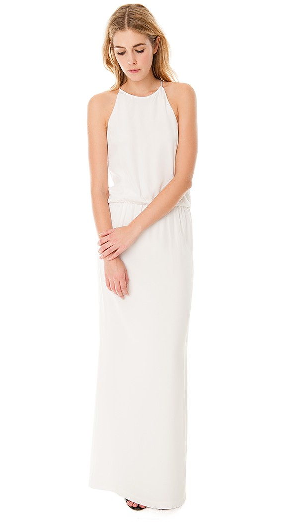 long white halter dress - Dress Yp
