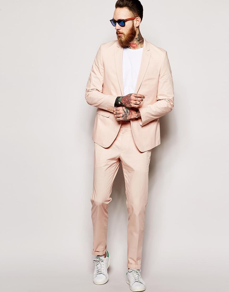 Asos Slim Fit Suit Trousers In Poplin in Pink for Men | Lyst