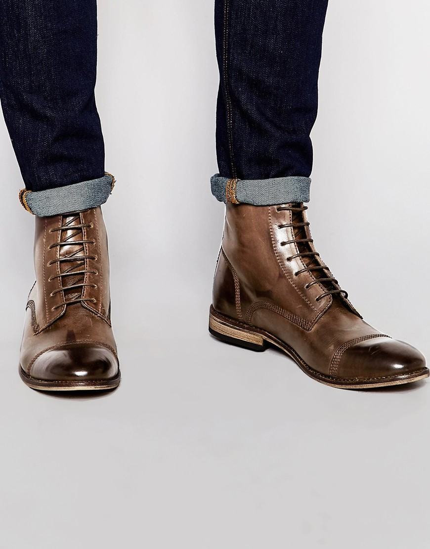 ASOS Lace Up Boots In Brown Leather