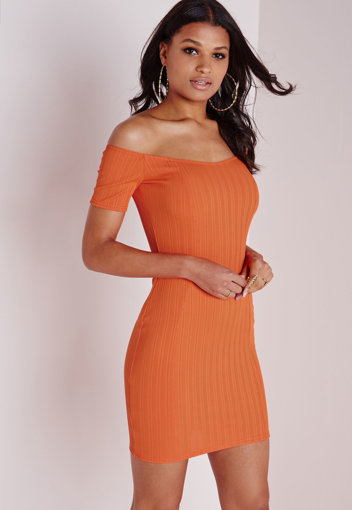 Sale golf ribbed neck orange bodycon dress bright scoop zaire games