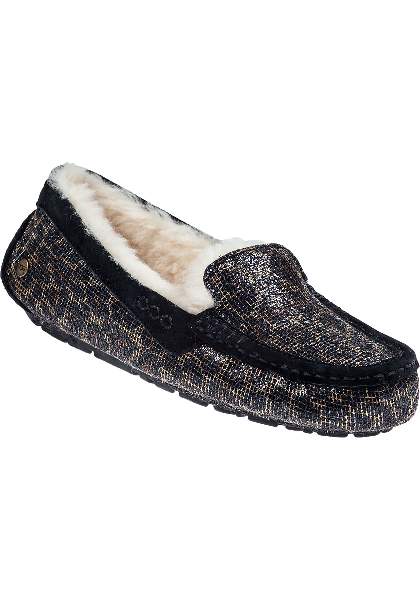 Ugg Ansley Leopard Print Suede Slippers Lyst