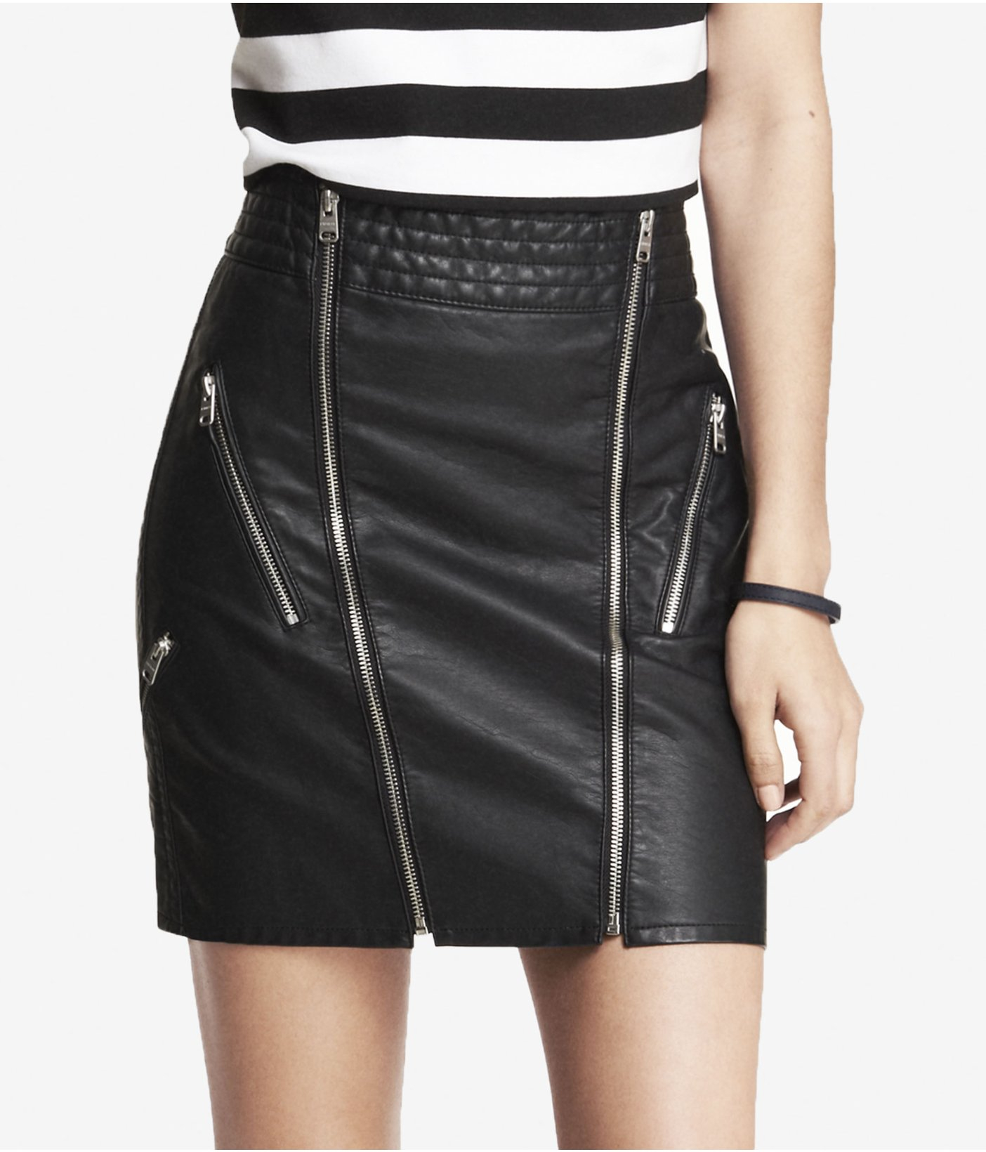 Express High Waist Minus The Leather Zippered Mini Skirt in Black ...