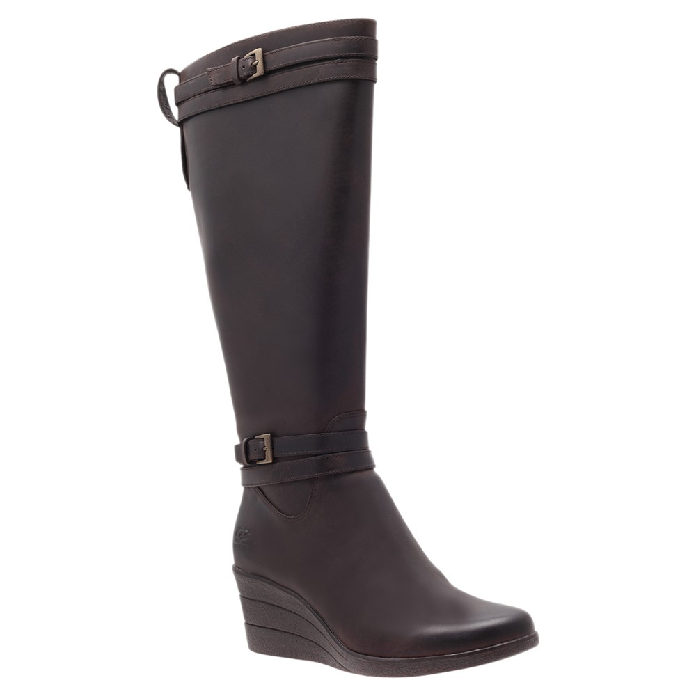 ugg irmah knee high boots in black brown lyst