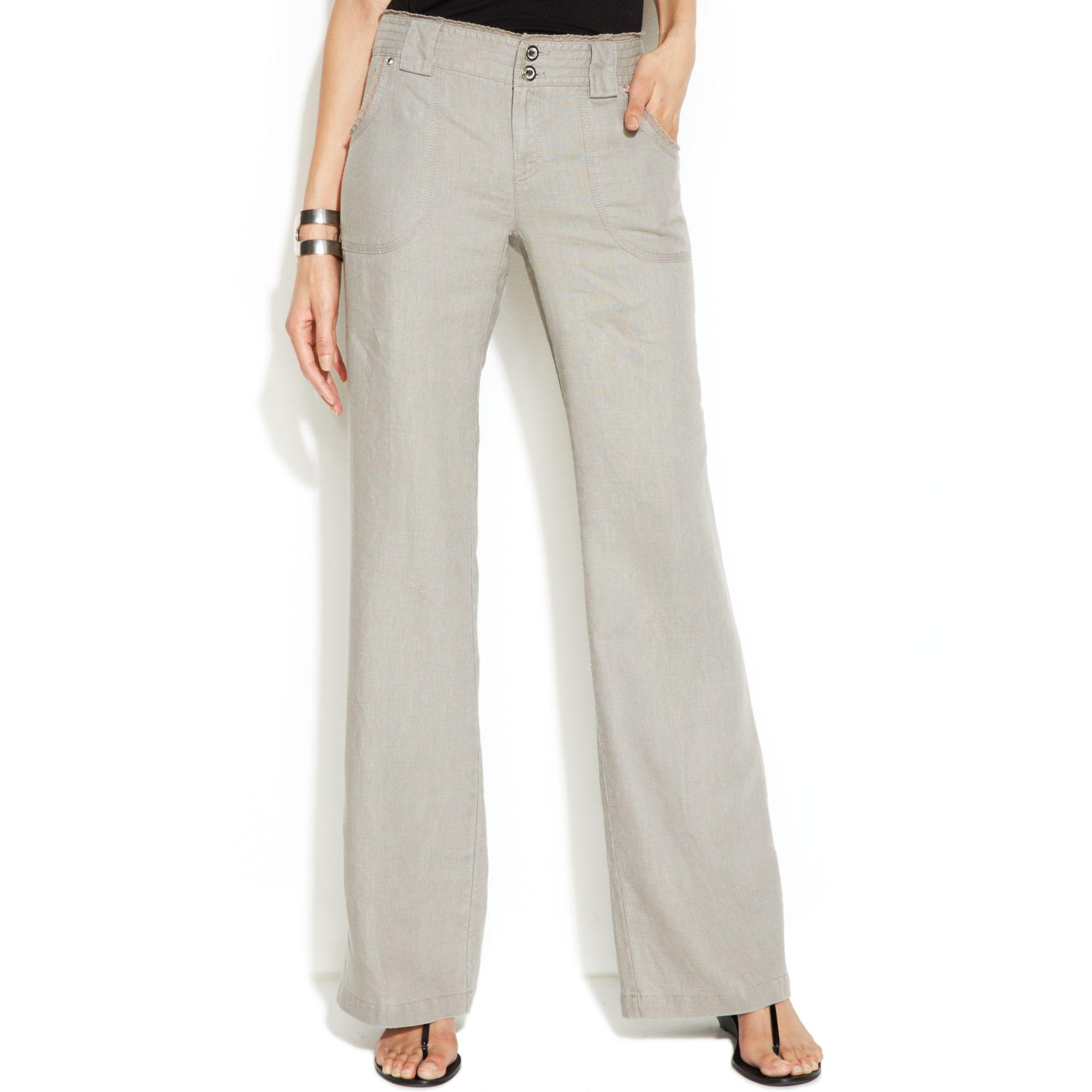 Inc international concepts Curvyfit Lacetrim Wideleg Linen Pants ...
