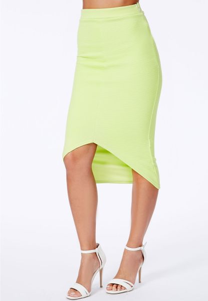 missguided elanor ribbed curve hem midi skirt in lime in