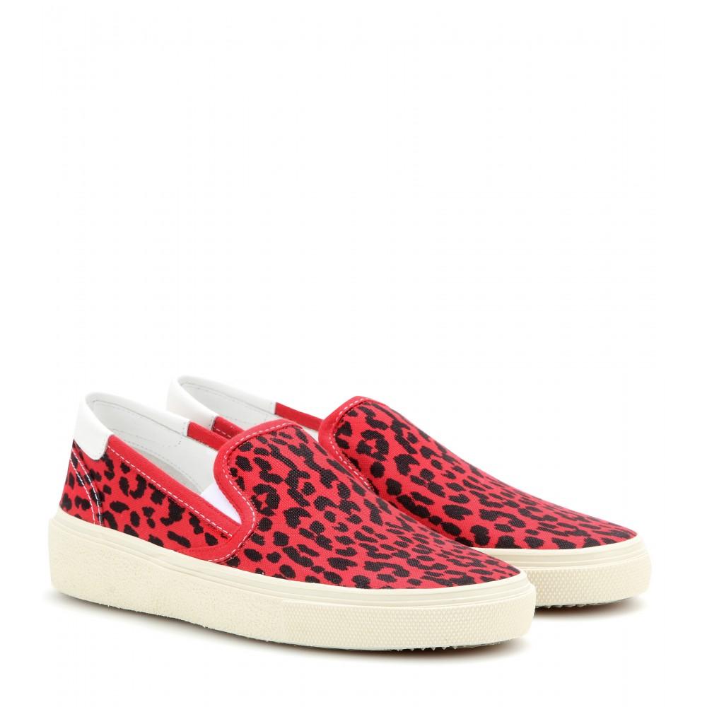 laurent leopard print canvas slip on sneakers in