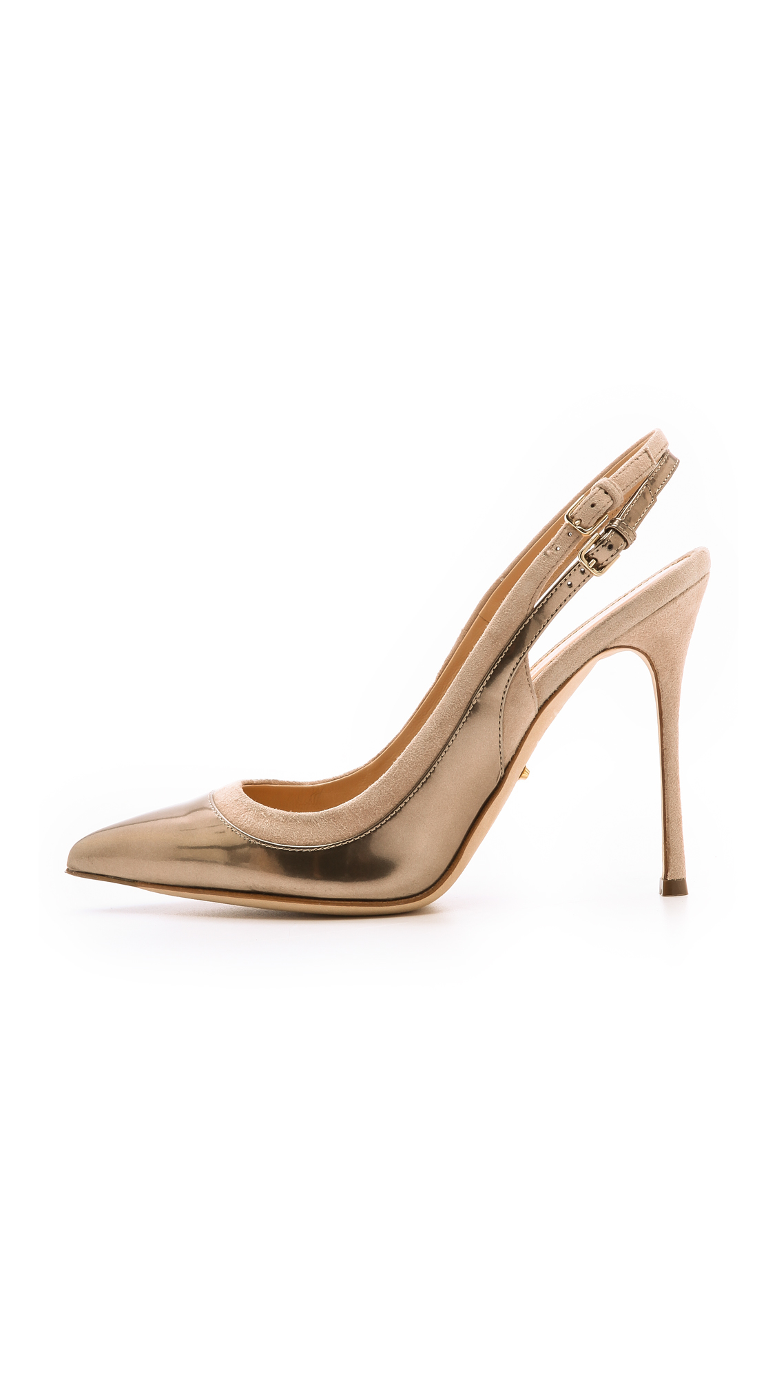 Lyst Sergio Rossi Collins Slingback Pumps Rose Gold In
