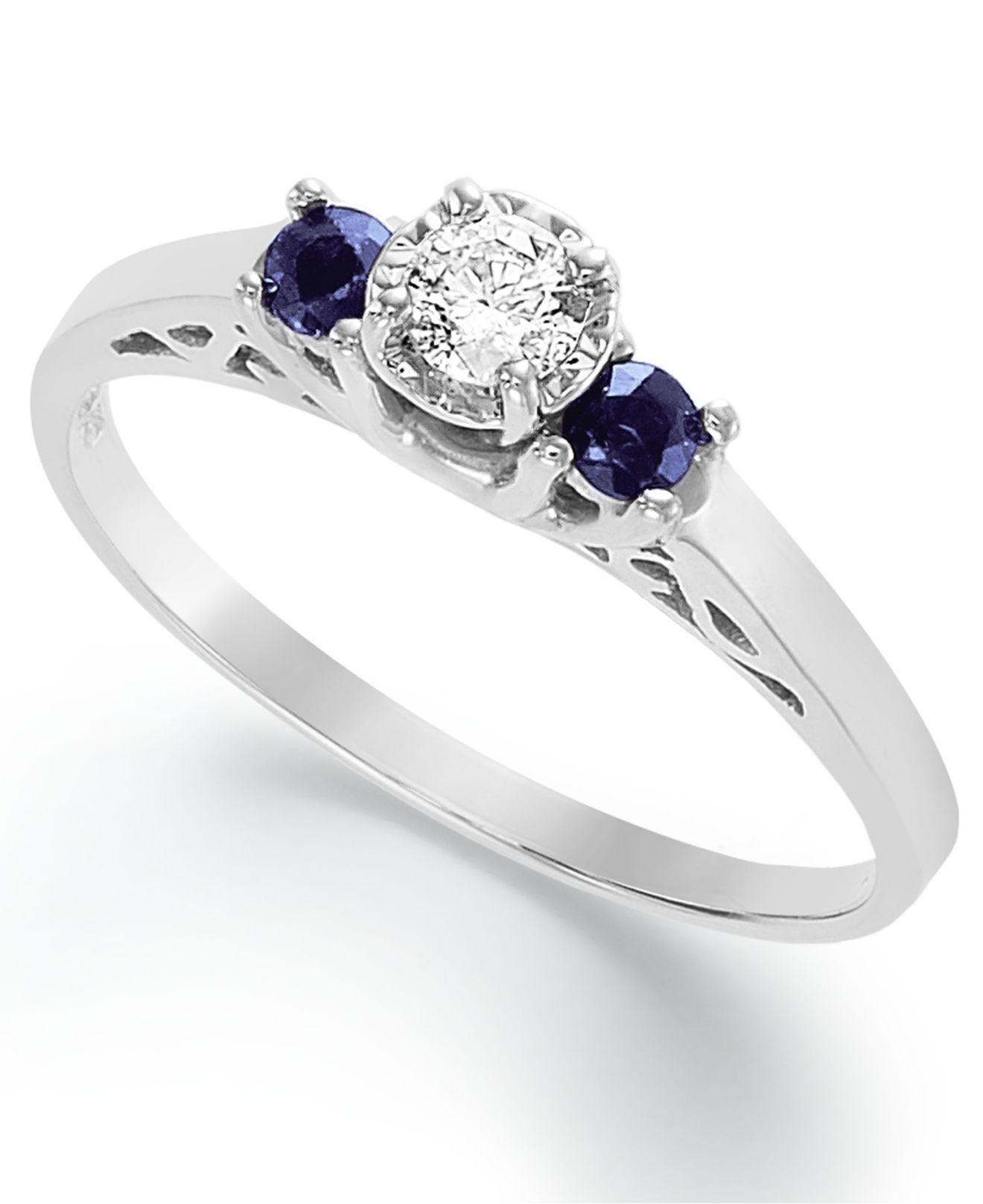 Macy s Us Certified Diamond 1 3 Ct T W And Sapphire 1 6 Ct T W En