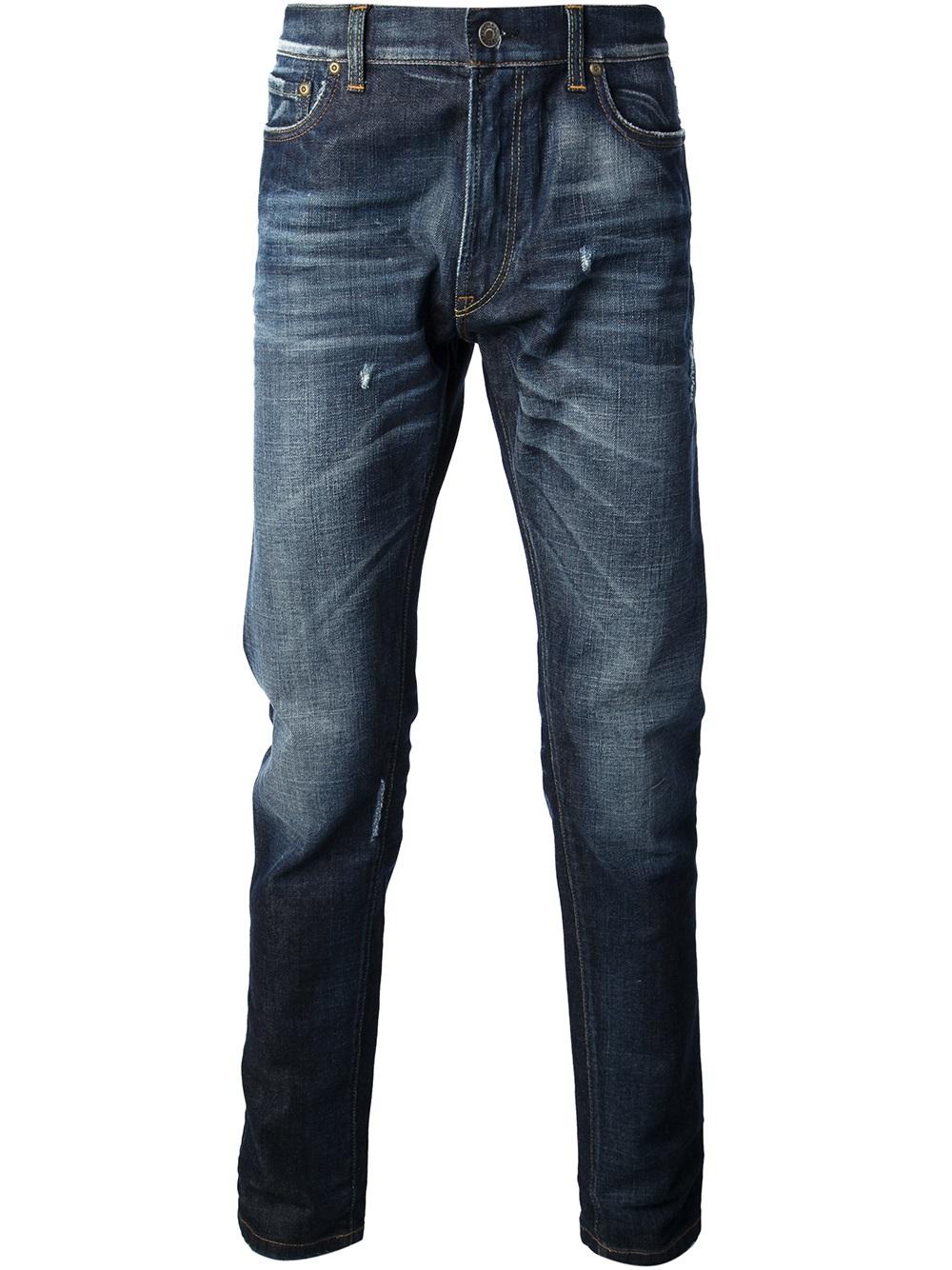 lyst dolce gabbana washed jeans in blue for men. Black Bedroom Furniture Sets. Home Design Ideas