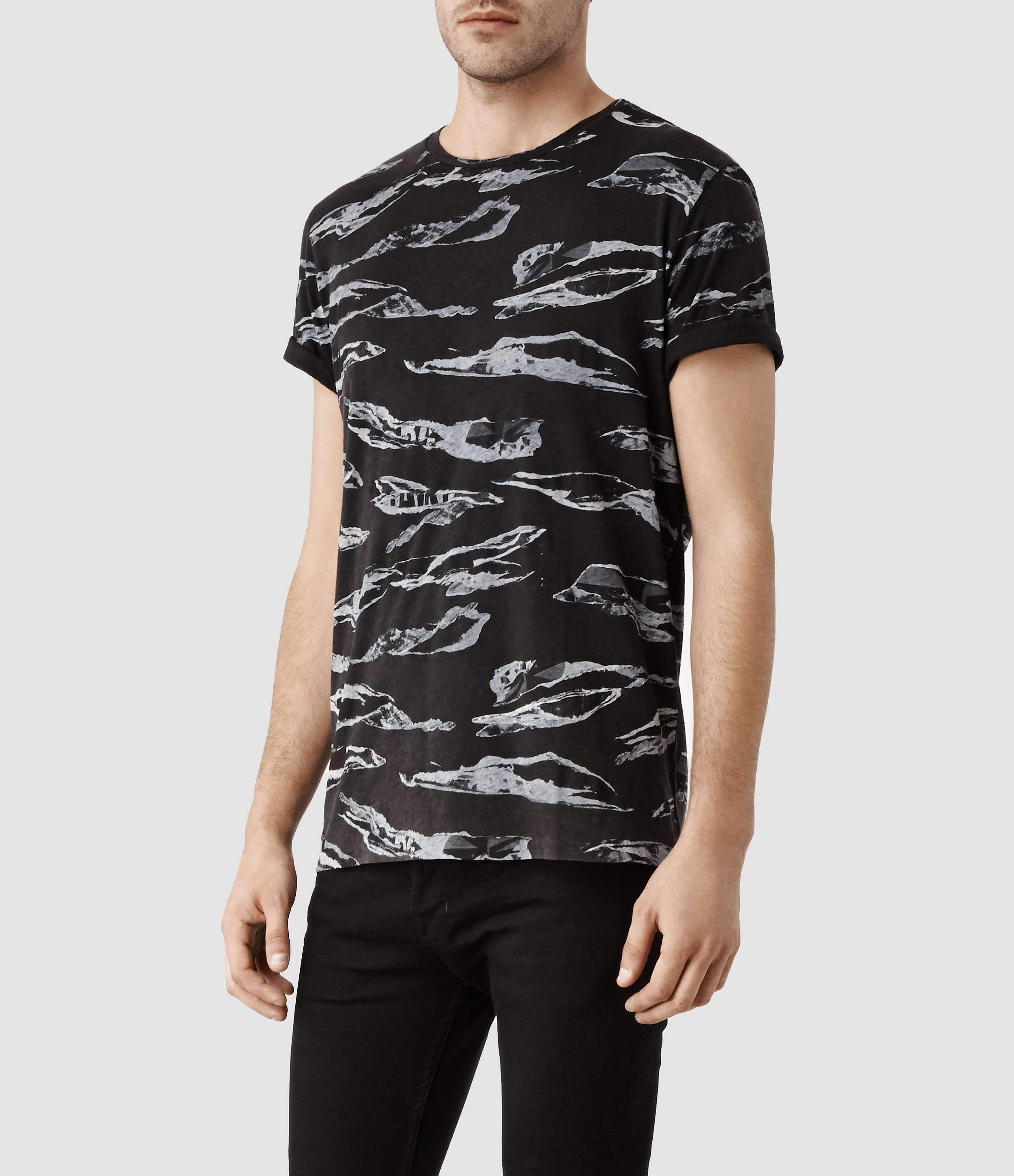 Lyst - AllSaints Ripped Camo Crew T-Shirt in Black for Men 224321e95