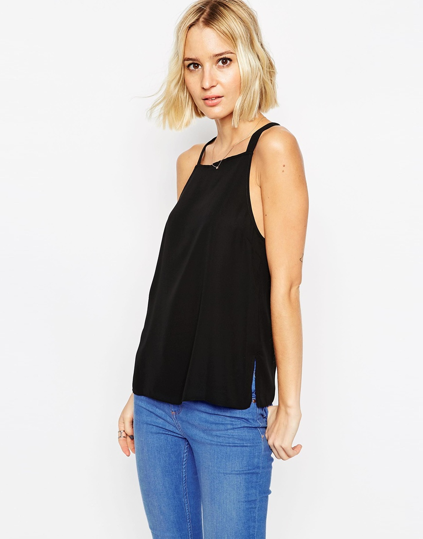 Asos High Neck Cami Top With Strappy Back Detail in Black ...