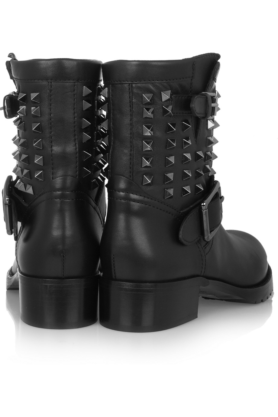 lyst valentino studded leather biker boots in black