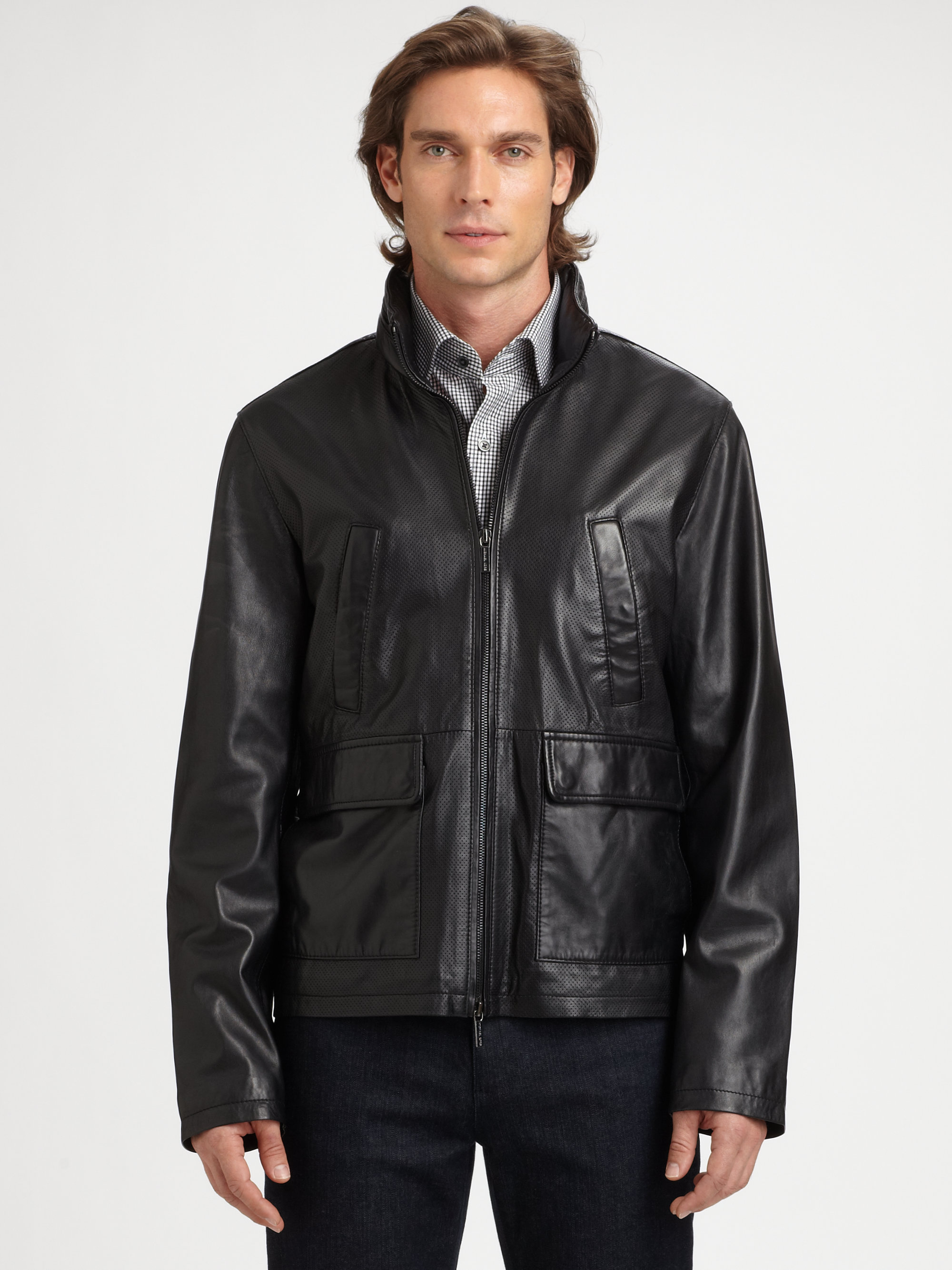 Michael kors Perforated Leather Jacket in Black for Men | Lyst