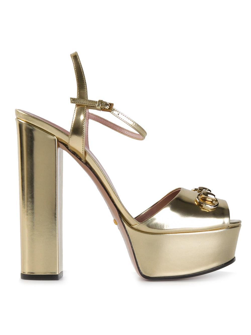 bbeb5dc1f0a2 Lyst - Gucci Chunky Heel Sandals in Metallic