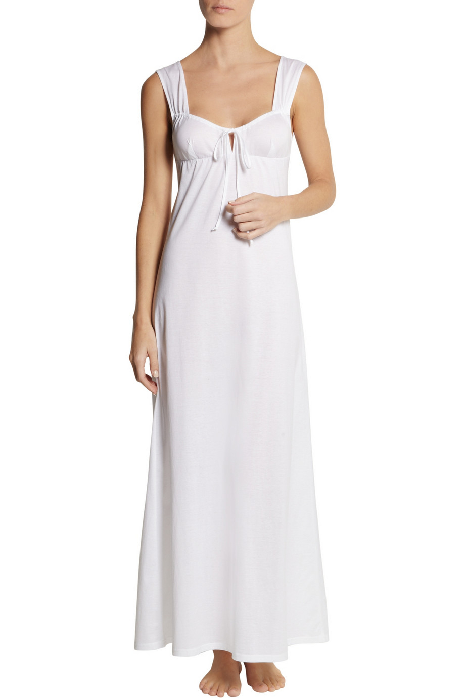7a079a80fe Lyst - Bodas Semi-Sheer Cotton-Jersey Nightgown in White