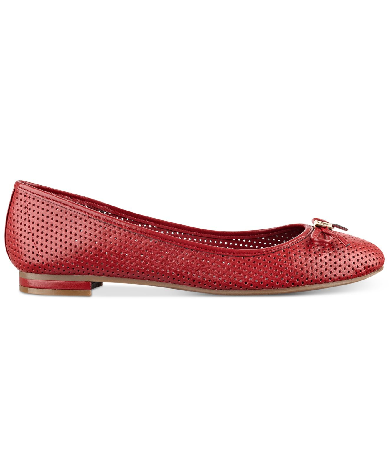 Tommy Hilfiger Leather Mirella Perforated Ballet Flats In