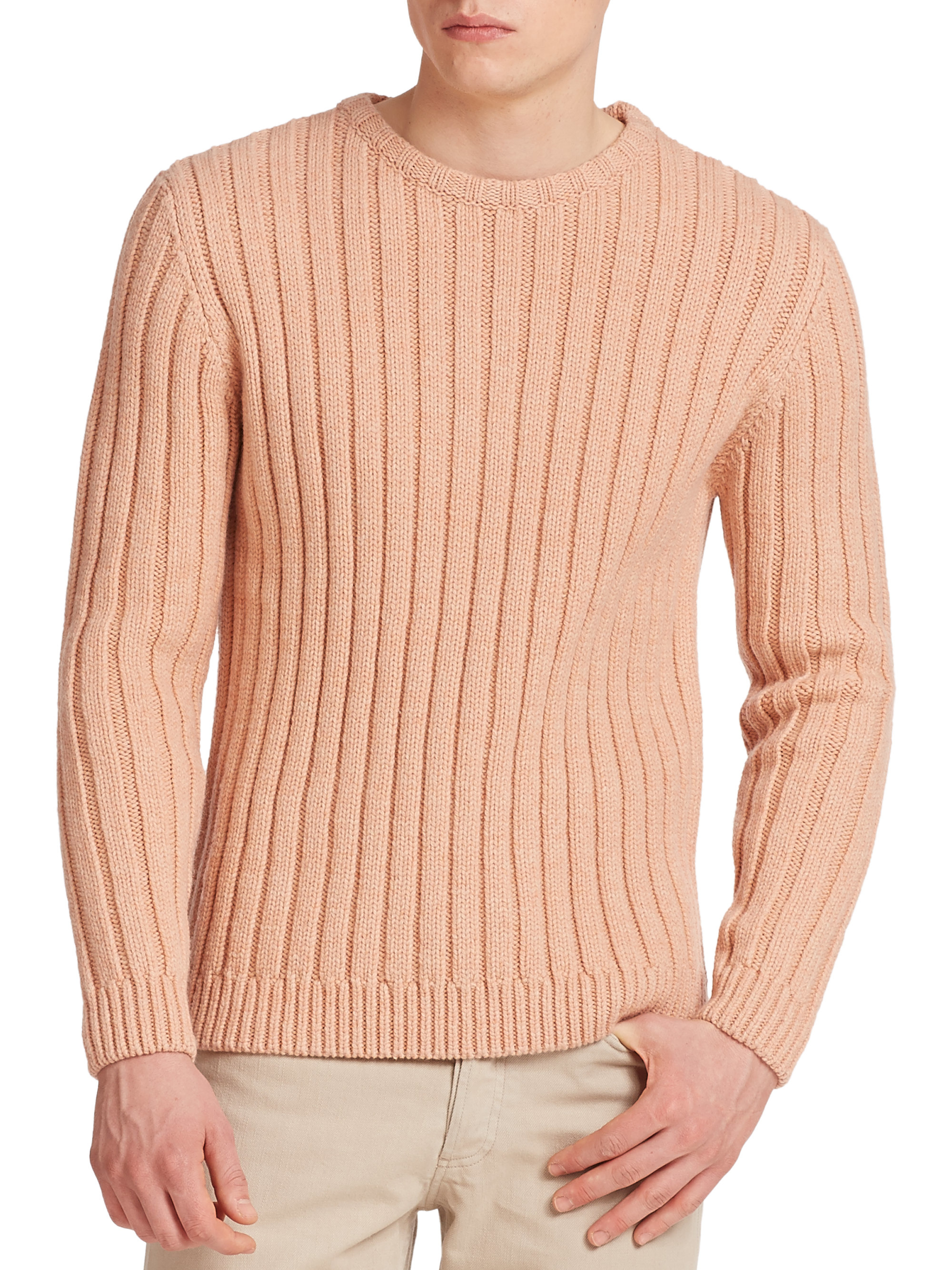 A.p.c. Ribbed Wool Sweater in Pink for Men | Lyst