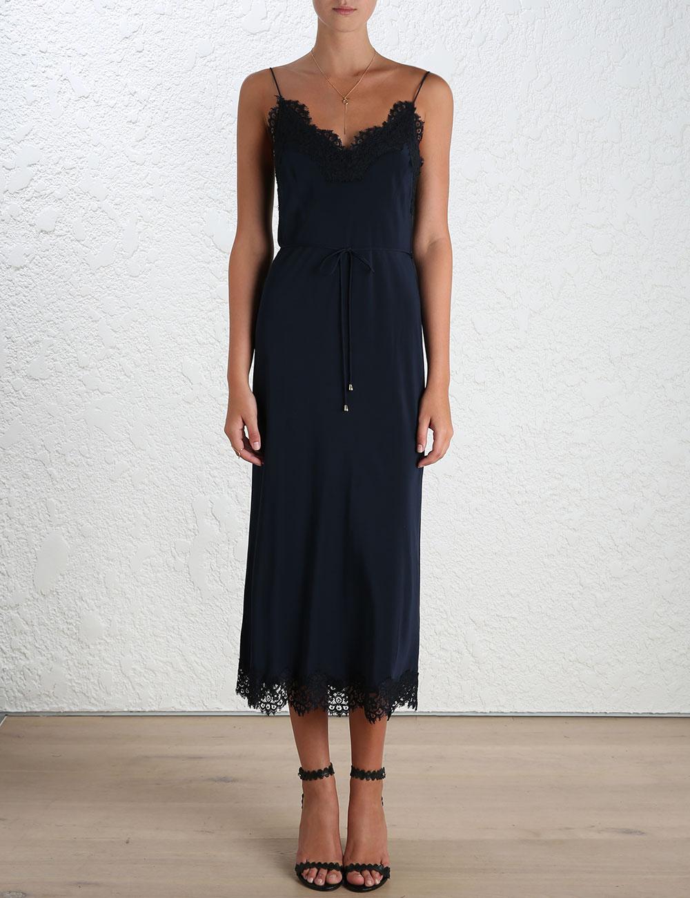 Lace Trimmed Silk Midi Dress