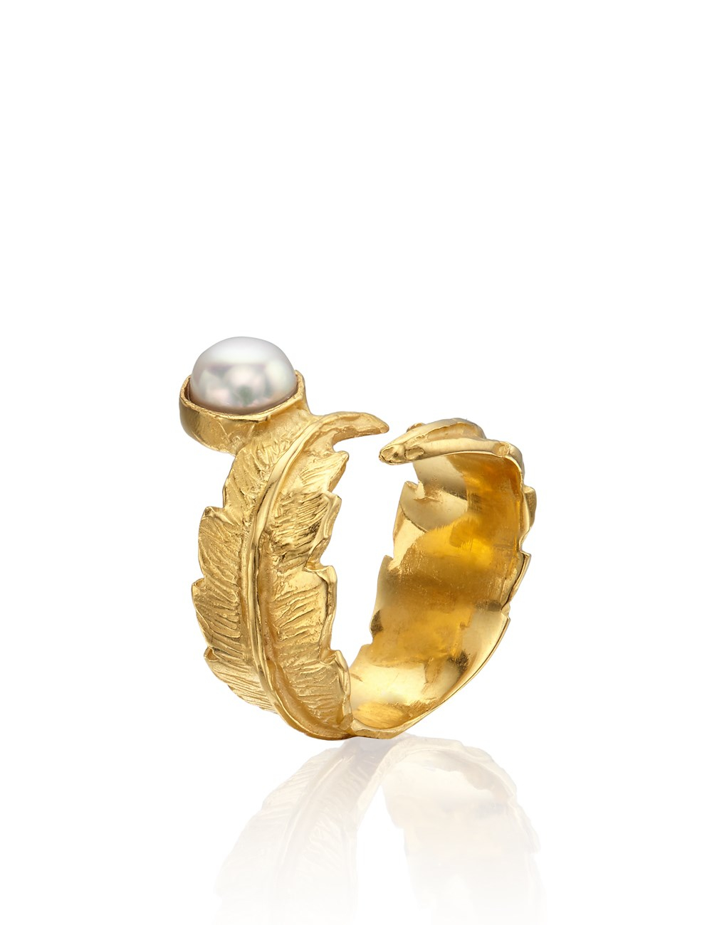 Leivan kash Gold Pearl Feather Pinky Ring in Metallic