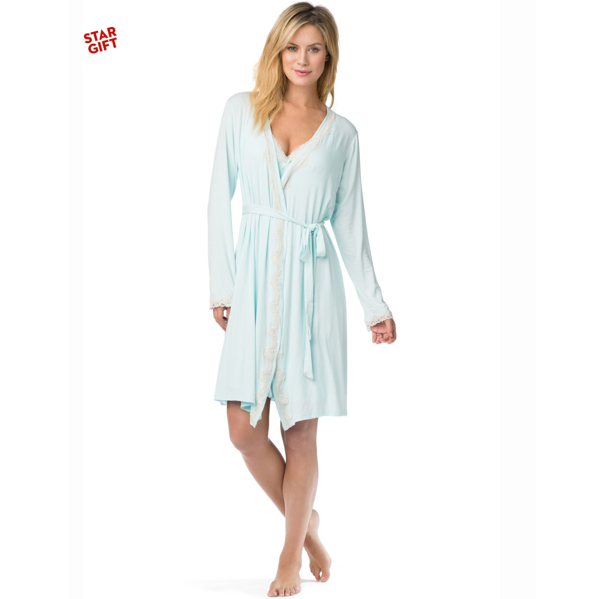 Lyst - Jessica Simpson Maternity Twopiece Nursing Nightgown Set in Blue