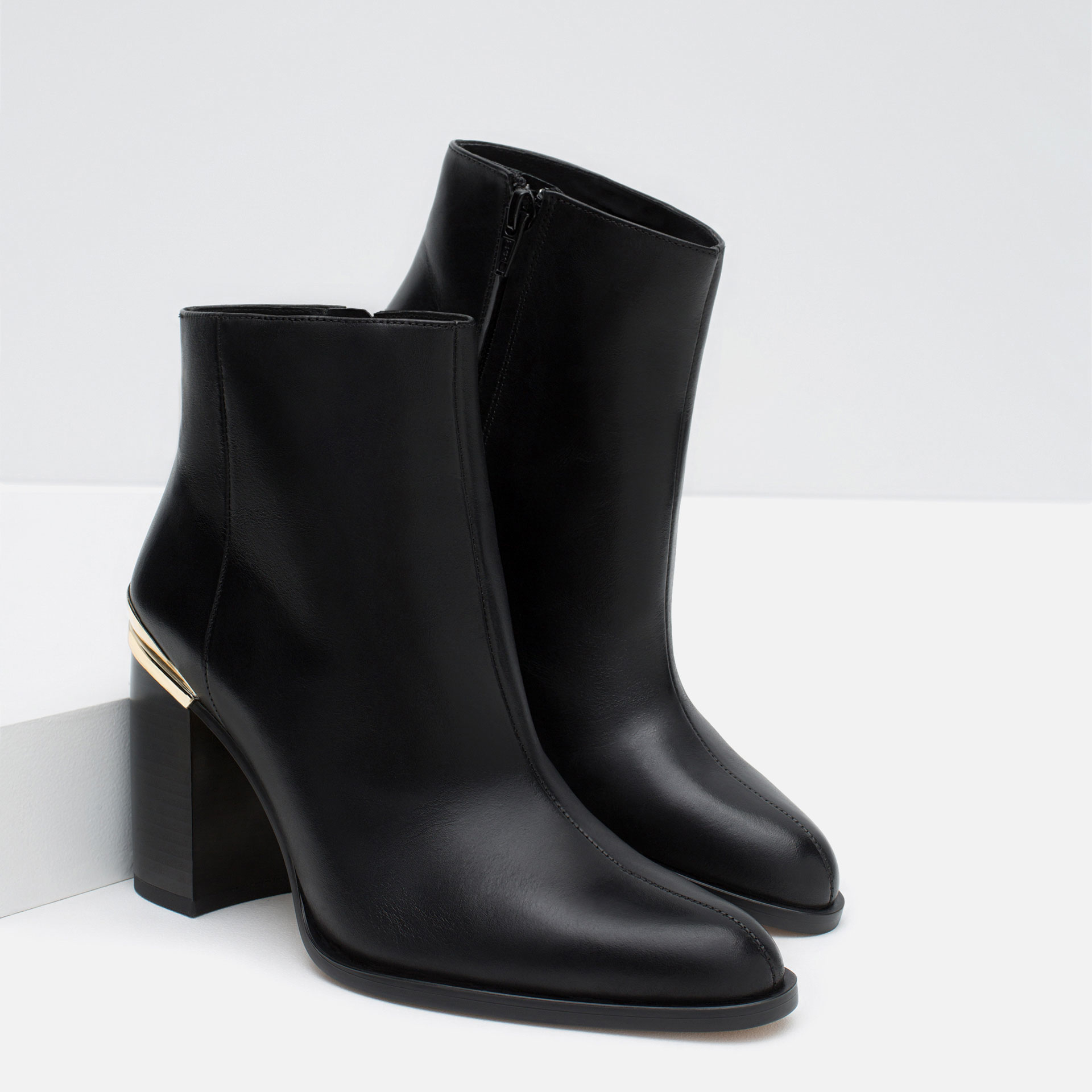 Zara High Heel Leather Ankle Boots With Metallic Detail in Black ...