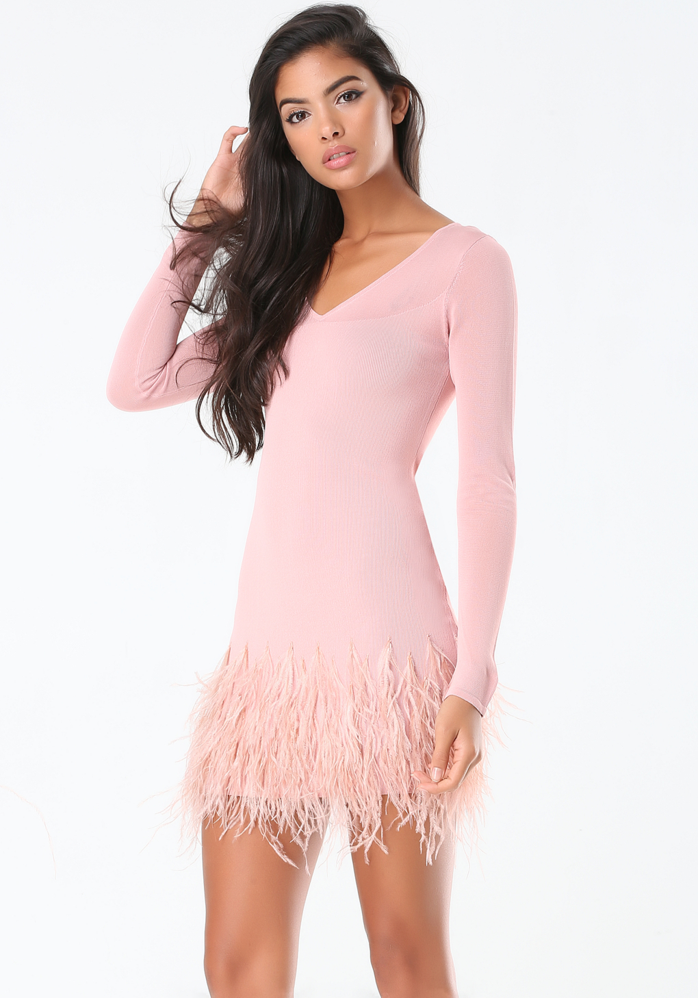 42c44742e59 Bebe Feather Trim Sweater Dress in Pink - Lyst