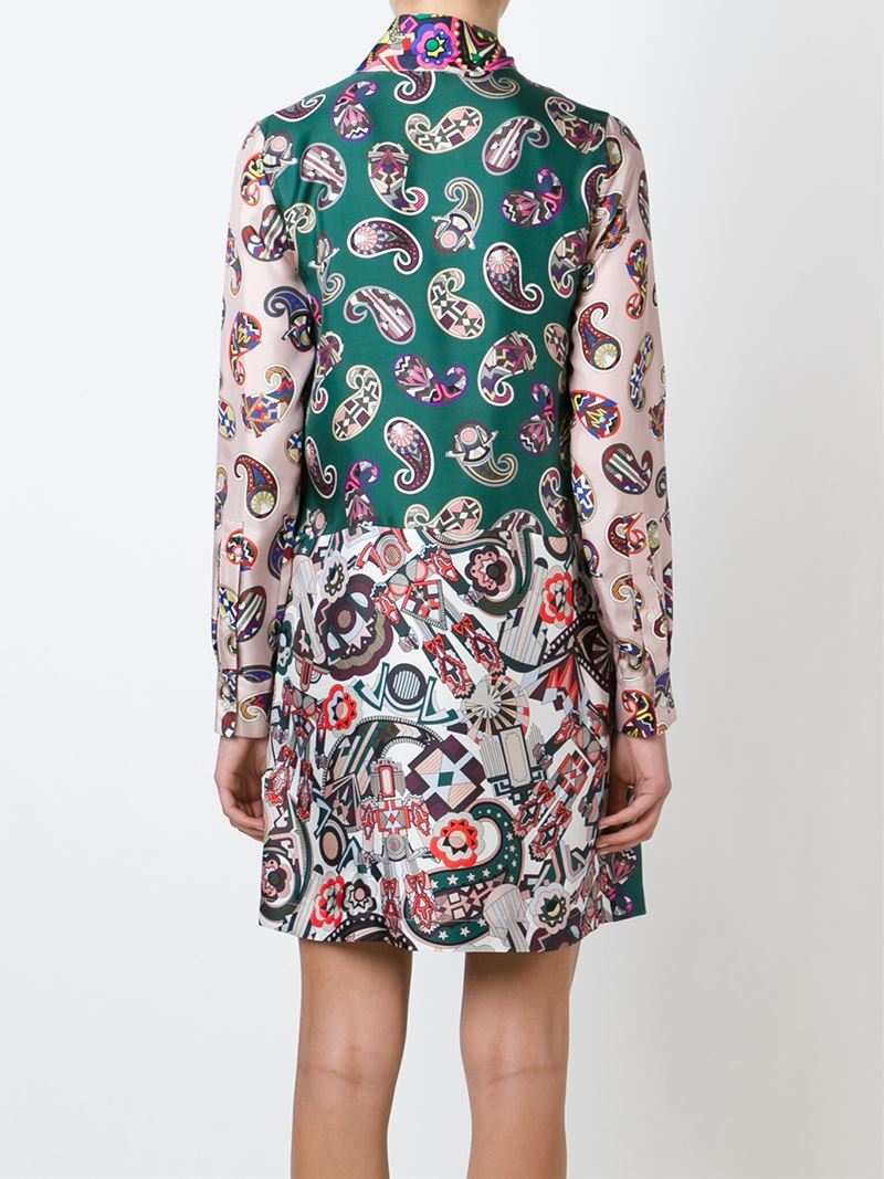 Msgm Pussy Bow Blouse Dress In Green Lyst
