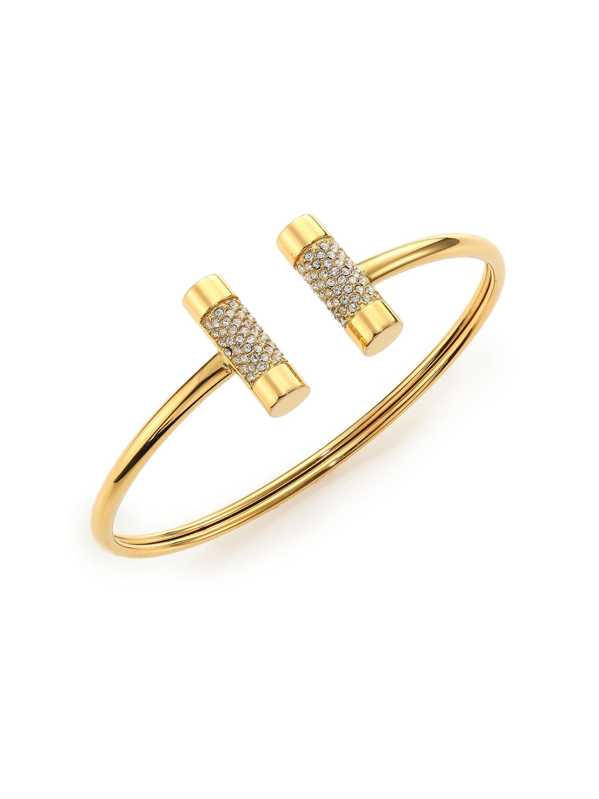 08594f31e2416 Michael Kors Metallic City Barrel Pavé Cuff Bracelet