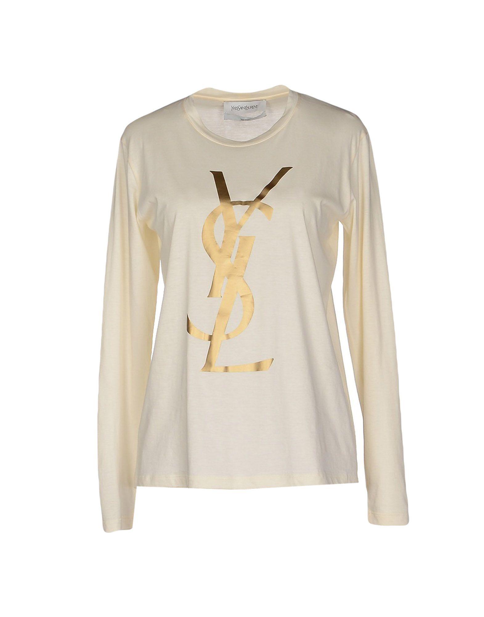 Saint laurent t shirt in white ivory lyst for Yves saint laurent white t shirt