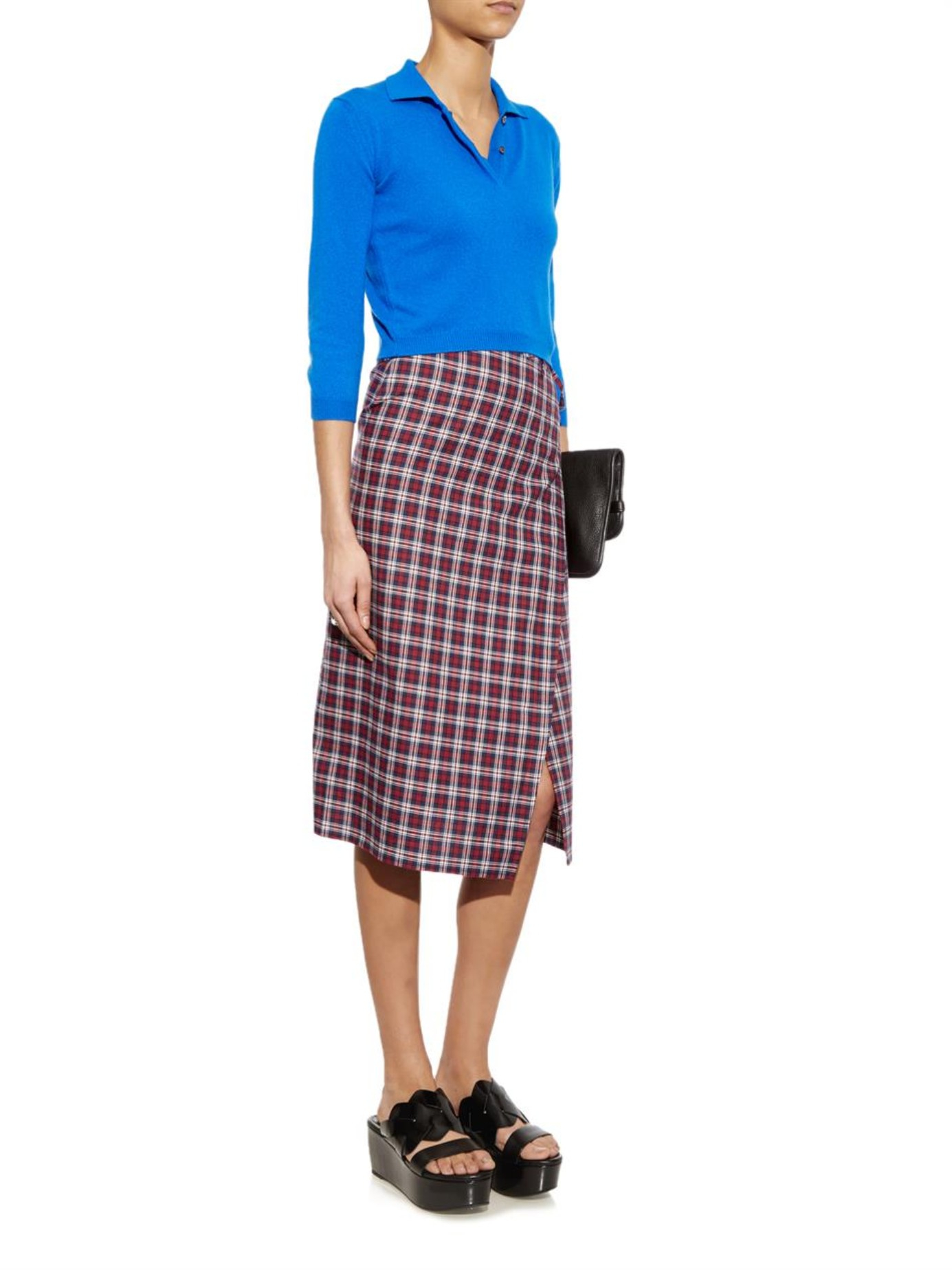 Vetements Checked Wraparound Pencil Skirt in Red | Lyst